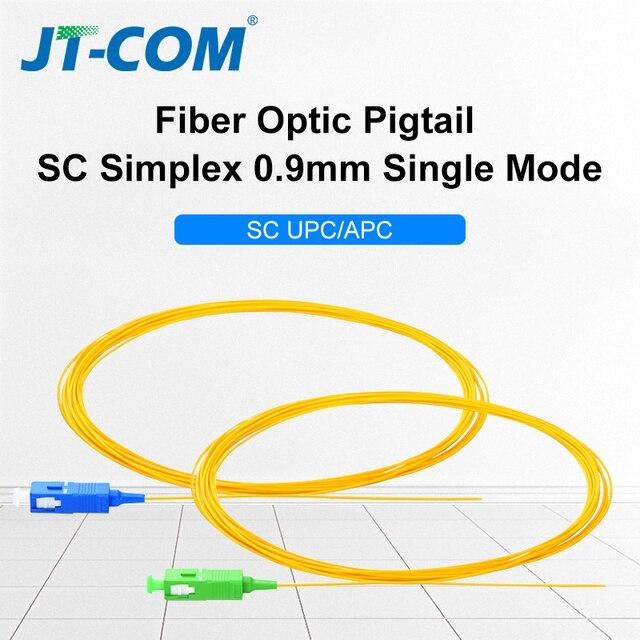 20/50/100/200 قطعة SC APC سلك توصيل من الألياف الضوئية Simplex 0.9 مللي متر 9/125 وضع واحد 1 core SC UPC الألياف البصرية ضفيرة 1.5 متر