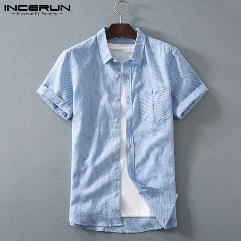 Summer <font><b>Men</b></font> <font><b>Striped</b></font> <font><b>Shirt</b></font> Cotton <font><b>Short</b></font> <font><b>Sleeve</b></font> 2020 Brand Lapel Tops High Quality Street Harajuku Casual Camisas Hombre INCERUN 7 image