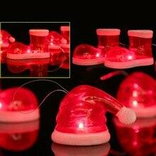 Светодиодный Рождественский подвесной светильник Декоративный Рождественский чулок/форма шляпы Рождественская игрушка висячие украшения праздничные украшения