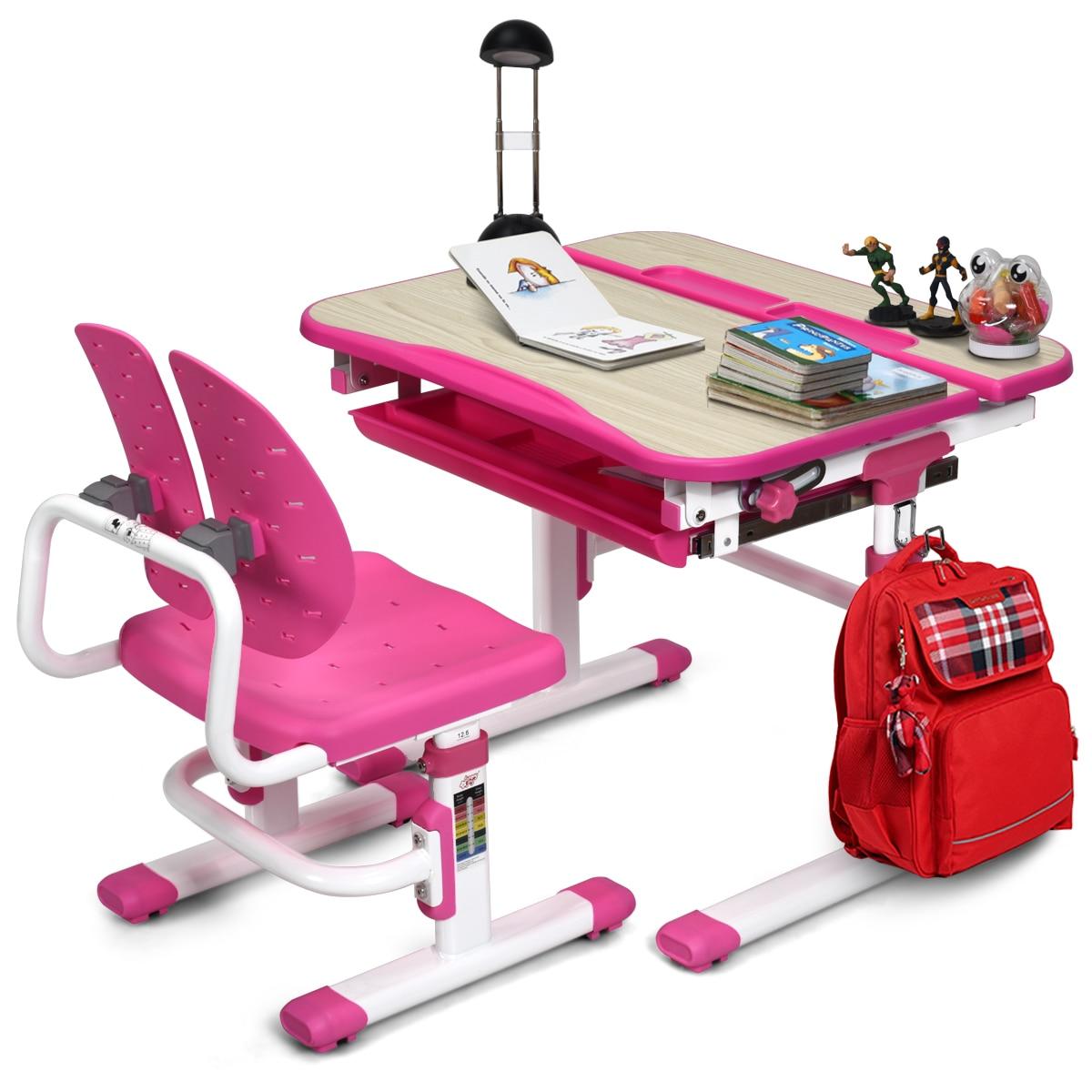 Children Desk Chair Set Adjustable Study Table W/ Drawer & Winged Backrest Chair