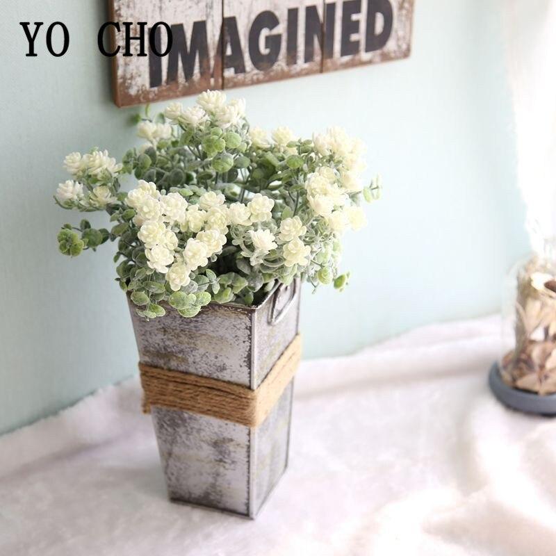 YO CHO Small Bunch Flower Plastic Camellia Mini Bouquet Wedding Bridesmaid Fake Camellia Wedding Wall Outdoor Home Party Decor