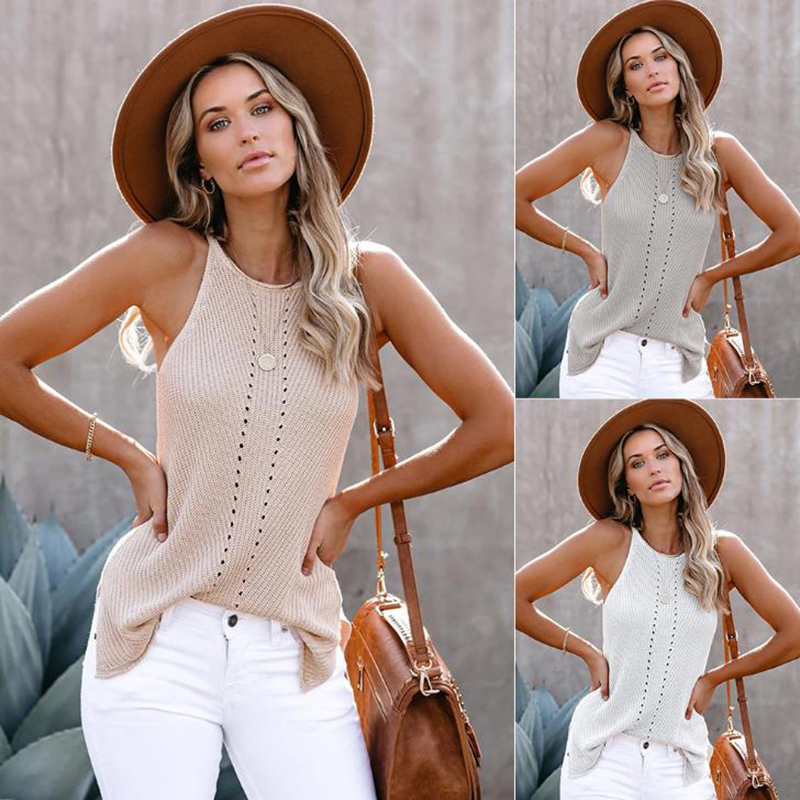 Julang Summer Knit Straps Tank Tops Women Sleeveless Round Neck Loose T Shirt Ladies Vest Singlets Camisole Cotton Ladies Vest