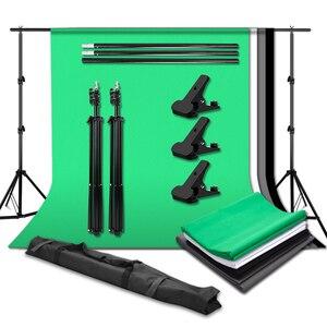 Набор для студийной фотосъемки, Портативная подставка для фона, 2 м x 2 м, система поддержки фона, 3 шт., фотофоны (зеленый/черный/белый), 3 хомута