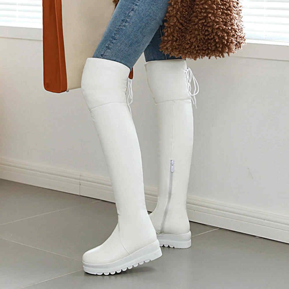 BONJOMARISA 34-43 Elegant LACE-up รอบ Toe รองเท้าผู้หญิง Platform เข่ารองเท้าบูทสูง 2020 CASUAL รองเท้า Wedges รองเท้าผู้หญิง