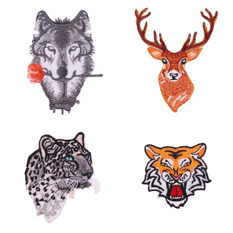 Embroidery Patch Cloth Stickers Chapter DIY Computer Models Rose Wolf Clothes Decorative Patch Stickers Cloth Leopard Tiger Deer