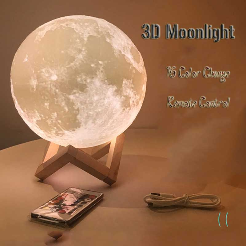 Remote control 16 RGB LED color changing 3D printed earth feeding lighting bedside night light USB bedroom decoration moonlight LED Table Lamps     - title=