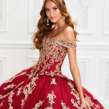 GY 2021 Gorgeous Red  Dresses With Gold Appliqued Sequins Lace Up Ball Gown Prom Dress 16 Dress Vestido De Festa Sweet