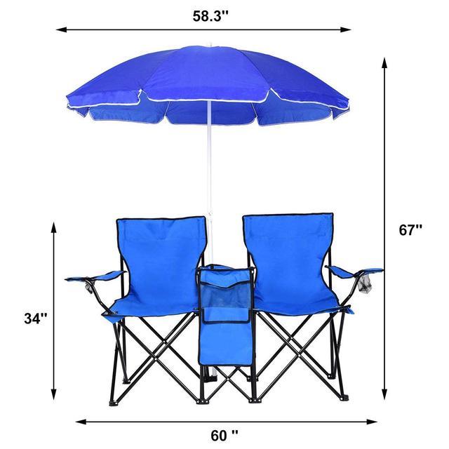 Outdoor Folding Table Garden Table Chair Set Portable Camping Picnic Furniture with Umbrella 4