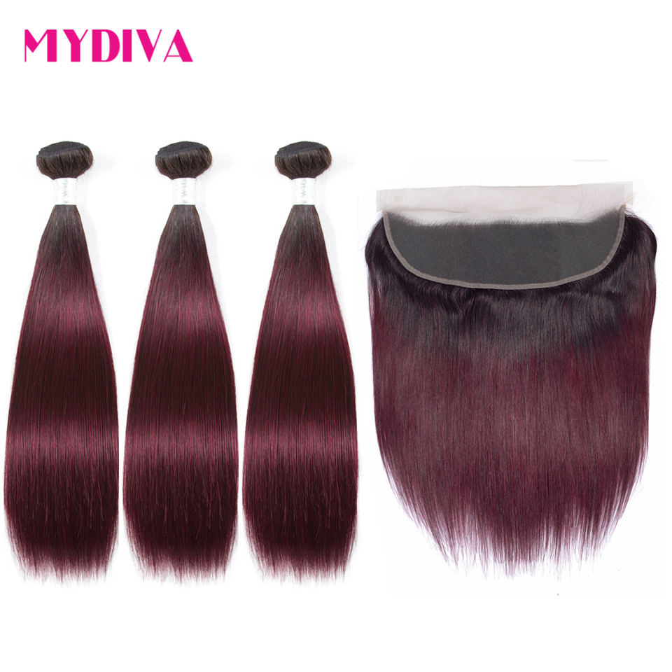 Brazilian Straight Hair Bundles With Frontal Non Remy Human Hair Bundles With Frontal Burgundy Ombre Bundles With Closure Mydiva-in 3/4 Bundles with Closure from Hair Extensions & Wigs    1