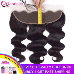 Gabrielle 13x4 Lace Frontal Closure 8-22 Inches Brazilian Body Wave 100% Remy Hair Frontal Natural Color Human Hair(China)