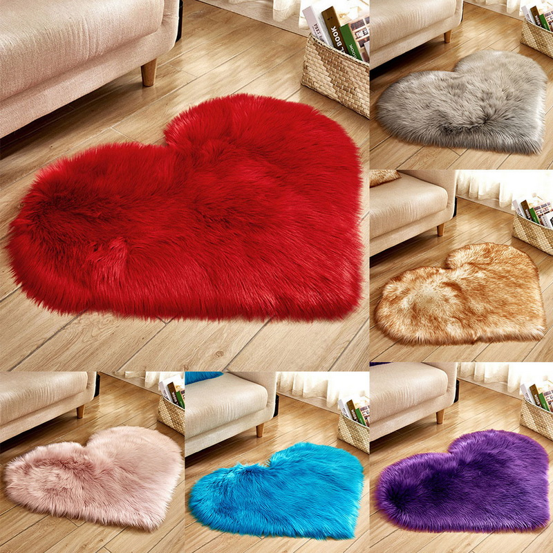 Shaggy Carpet Love Heart Rugs Artificial Wool Sheepskin Hairy Mat Faux Fluffy Mats NO Lint Carpet For Living Room Kid Room
