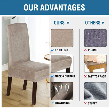 Spandex Elastic Velvet Dining Chair Cover 8 Chair And Sofa Covers