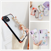 Weiß Perle armband Kette Telefon Fall Für Xiaomi Redmi Hinweis 10 9 8 7 K40 Pro 10S 9S 9T 9A 9C 8T 8A Etui Silikon Weiche TPU Abdeckung
