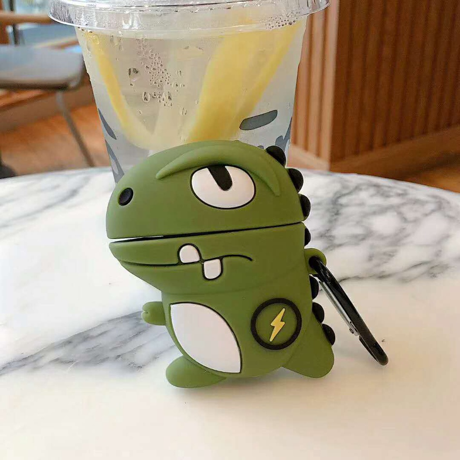 For AirPods <font><b>Case</b></font> Cute 3D Cartoon Dinosaur dog Fashion Earphone <font><b>Case</b></font> For AirPods 2 Wireless <font><b>Bluetooth</b></font> <font><b>Headset</b></font> Cover with Keychain image