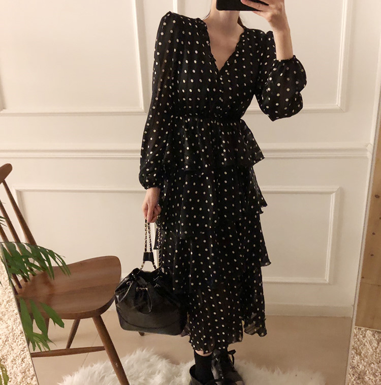 Hf10c0895e33342c1a0f978f602fc21ecI - Autumn V-Neck Long Sleeves Satin Polka Dots Multi-Layers Midi Dress