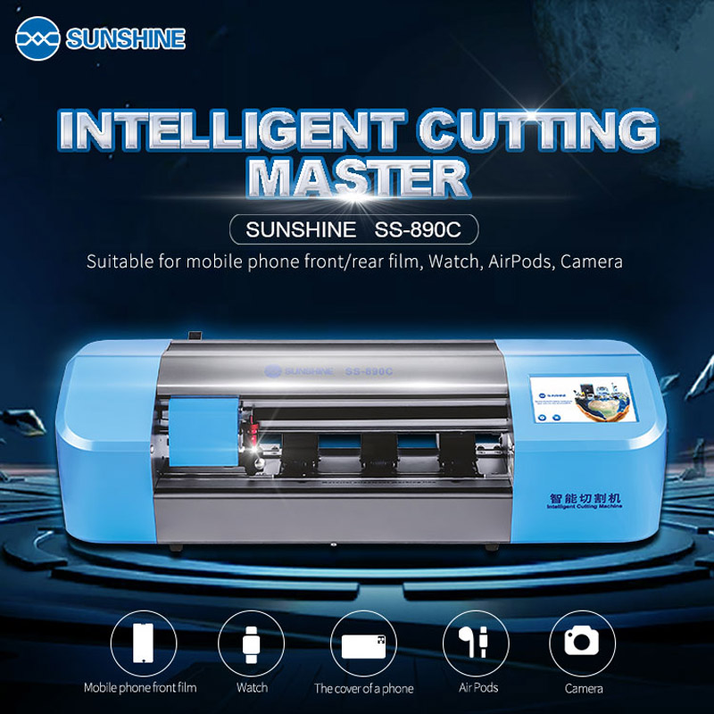SS-890C Sunshine Auto Film Cutting Machine Mobile Phone Tablet Front Glass Back Cover Protect Film Cut Tool Protective Tape