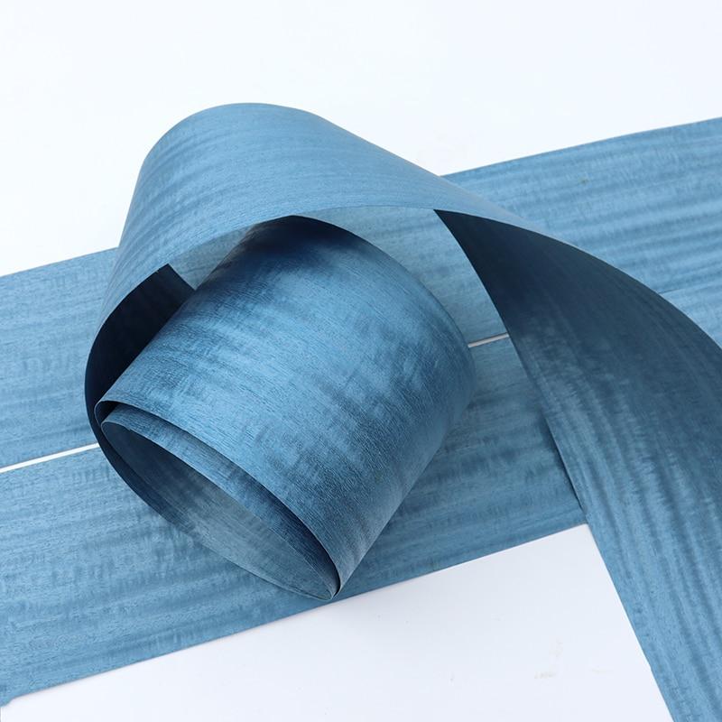 5x Natural Veneer Genuine Figured Q/C Wood Dyed Decorative Sliced Veneer Excellent Panel EP For Furniture Blue