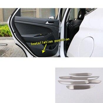 Car Handrail Armrest Door Window Glass Switch Panel Trim Stick Frame Kick Pad Molding 4pcs For Hyundai Tucson 2019 2020