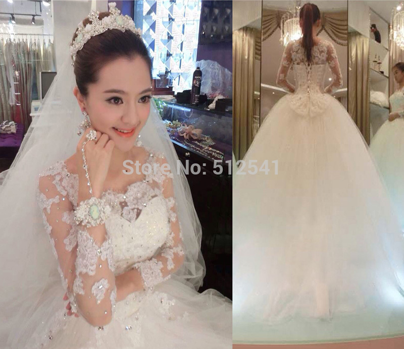2019 Long Sleeve Sweetheart A Line Wedding Dresses Sheer Lace Beads Appliques Sequin Bridal Gowns Crystal Vestido De Noiva