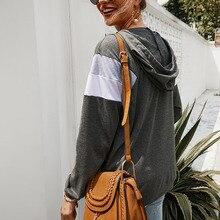 New Womens Autumn Winter Fashion Casual All-match Sweatershirt Hooded Top Geometric Stitching Hoody