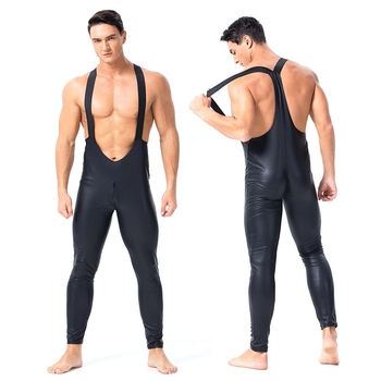 Men Sexy Lingerie Latex PVC Body Suit Faux Leather Front Zipper Open Crotch Bodysuit Fetish Costume Nightclub Erotic Catsuit women sexy open crotch bodysuit sheer lingerie double zipper fetish catsuit body transparent bodystocking sexy hot erotic suit