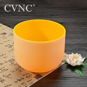 """Image 2 - CVNC 440Hz ou 432Hz 8 """"Note E jaune Plexus solaire givré cristal de Quartz Chakra bol chantant"""