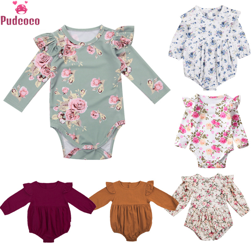 6 Style Toddler Infant Newborn Clothing Baby Girl Bodysuit Floral Printing Long Sleeve One Piece Jumpsuit Outfits Onesie