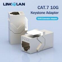 10g cat7 c6a rj45 acoplador inline protegido fêmea keystone adaptador em linha reta através do conector adequado para o painel de remendo em branco
