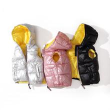 Dziecko kamizelka dziecięca odzież wierzchnia płaszcze zimowe ubrania dla dzieci ciepła bluza z kapturem bawełna dla niemowląt chłopcy dziewczęta Baby girl odzież dla 5-10 lat tanie tanio DAILOU COTTON Poliester 0 2KG Na co dzień Stałe REGULAR FH182 zipper Unisex Pasuje prawda na wymiar weź swój normalny rozmiar