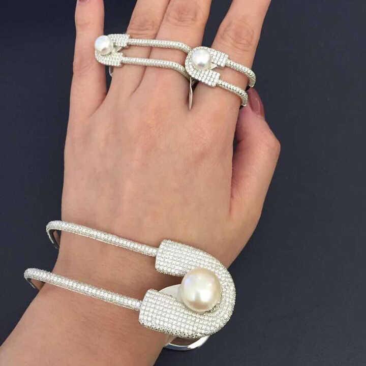 Уникальный Полный CZ Двойной Pin-кольцо для девочек, модные кольца на два пальца, обручальное кольцо, милое кольцо ювелирные изделия bijoux (украшения своими руками) 00287