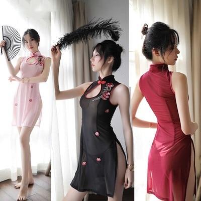 Chinese Cheongsam Dress Women Embroidery Qipao Dress See Through Mesh Babydoll Sexy Hot Erotic Party Dress