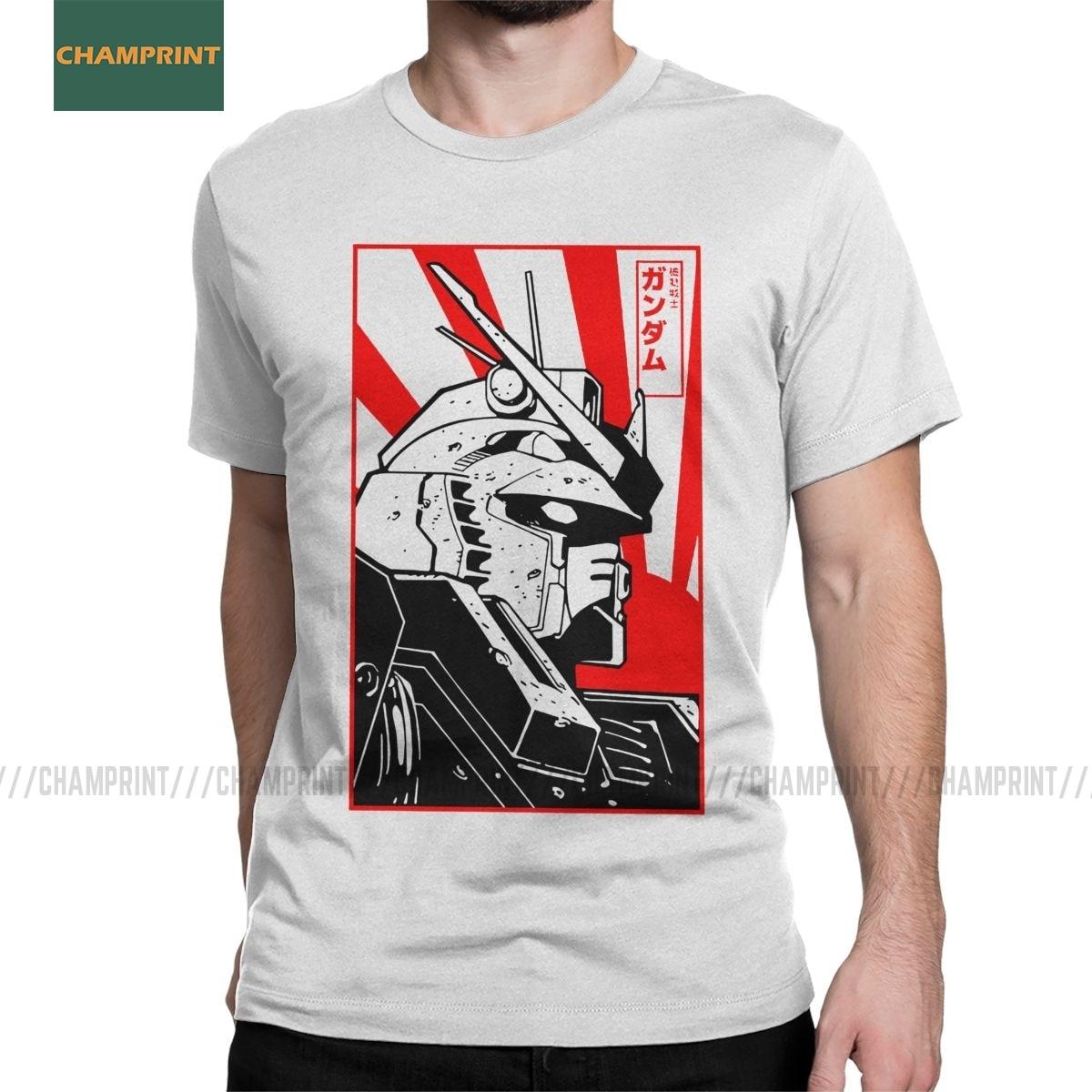 T-shirts de manga curta incrível camiseta de algodão harajuku gunpla t-shirts de cabeça t anime mech robô manga mecha japão