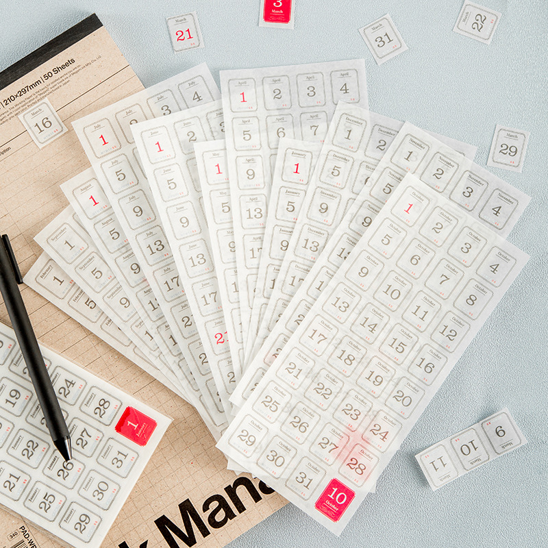 12PCS/LOT My 365 Days DIY Dates Stickers Cool Deco For Diary Planner Bullet Journal Creative Stationery Gift