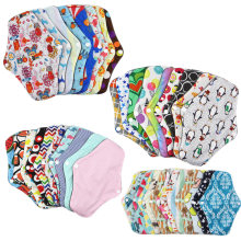 Washable Reusable Random Color Nappy Bamboo Cotton Absorbent Menstrual Cloth Feminine Towel Pads Panty Liner Soft Hygiene Women(China)