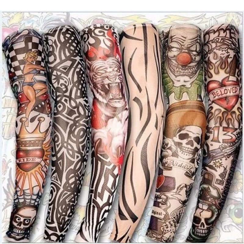 2 Pcs New Nylon Elastic Fake Temporary Tattoo Sleeve Designs Body Arm Stockings Tattoos For Cool Men Women FEA889
