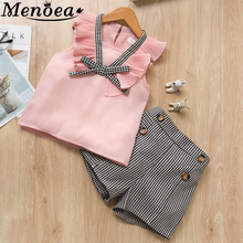 Menoea Girls Clothing Sets 2020 New Style Summer Children Clothes Cute Dots Lace + Bow Short Pants 2pc Kids Clothes Sets cheap Fashion CN(Origin) Turn-down Collar Pullover AY265-C Cotton Polyester Lycra Regular Fits true to size take your normal size
