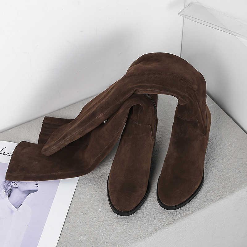 Nâu 5 Cm Gót Vuông Nữ Mùa Đông Giày Đùi Cao Cấp Giày Đen Cao Trên Đầu Gối Full Real Da Lộn ấm LDI09 Muyisexi