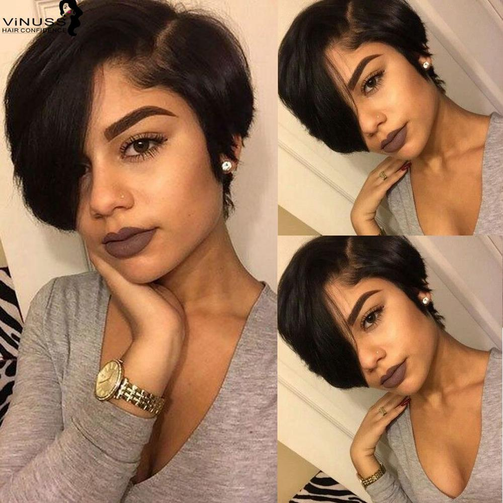 8Inch Short Pixie Cut Lace Front Human Hair Wigs For Women Pre Plucked Brazilian Remy 13X4 Lace Front Wigs Bleached Knots Vinuss