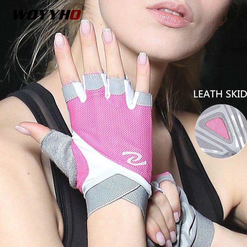 Profesyonel spor eldivenleri kadın ağırlık kaldırma Crossfit egzersiz Fitness eldivenleri nefes vücut geliştirme yarım parmak el koruyucu
