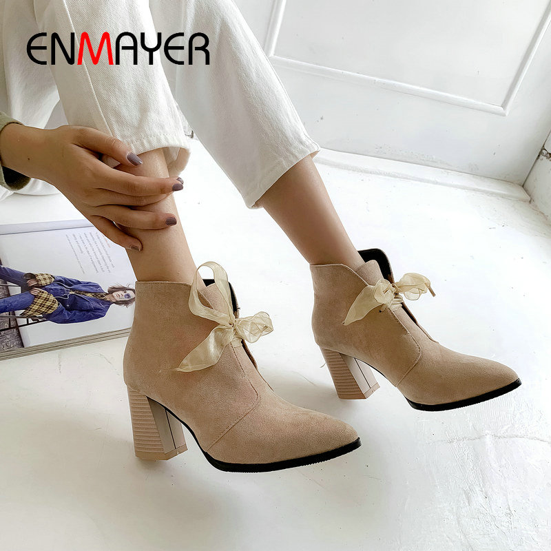 ENMAYER Faux Suede Lace-Up Pointed Toe Women Boots Hoof Heels 2019 Ankle for Short Plush Womens 34-43