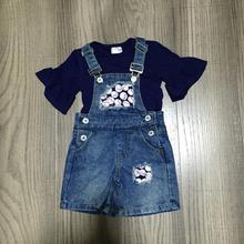 Neuheiten sommer baby mädchen kinder kleidung outfits insgesamt baseball denim shorts baumwolle milch seide navy top rüschen