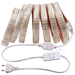 220V 110V Светодиодные ленты светильник 5730 240 светодиодов/м двойной ряд Светодиодные ленты Водонепроницаемый в виде ленты белый/теплый белый с ...