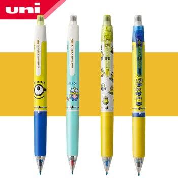 1 pçs uni edição limitada minions multifuncional caneta apagável URE3-600 rotativa mudança núcleo imprensa 0.5mm tri-color recarga