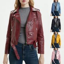 Leather Jacket Women Fashion Bright Colors Zipper Autumn Outwear Soft Female