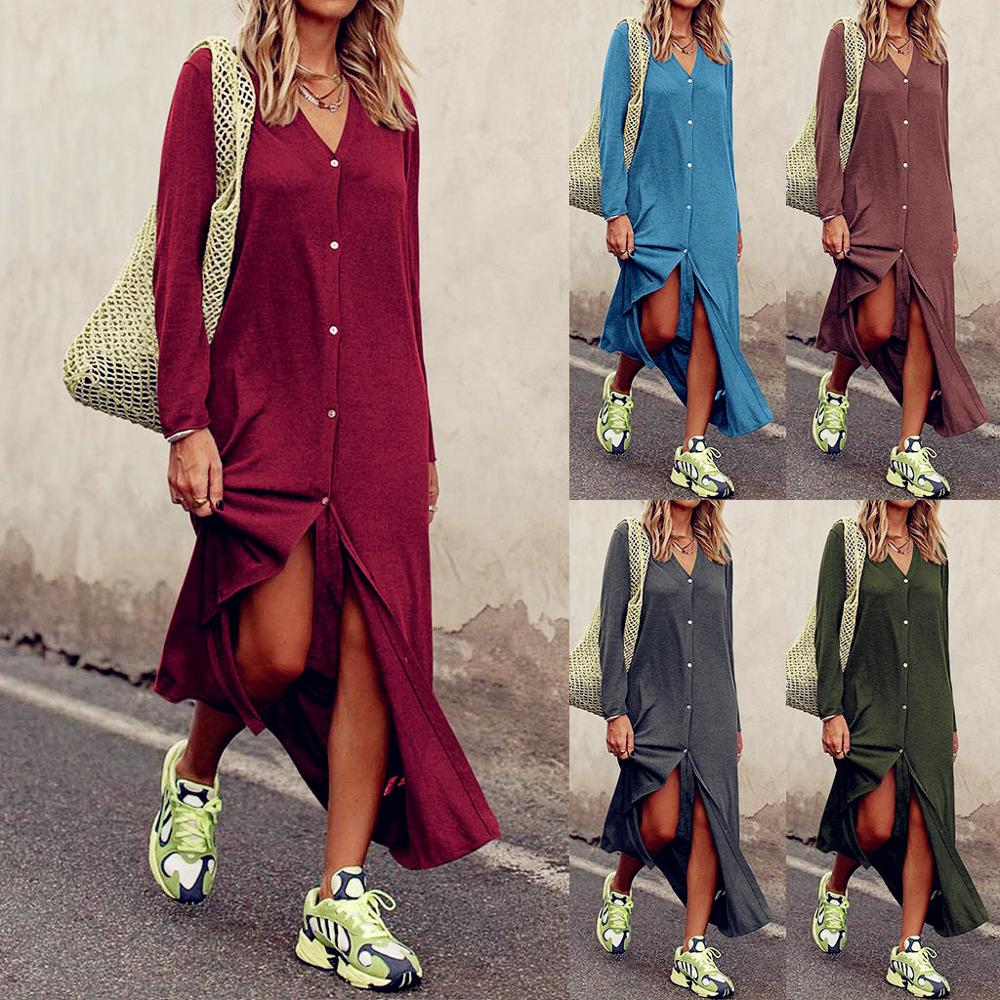 2020 Women Casual Loose Long Sleeve Button Shirts Dress Spring Sexy Boho Bow Befree Maxi Dress Plus Sizes Dresses Robe Femme