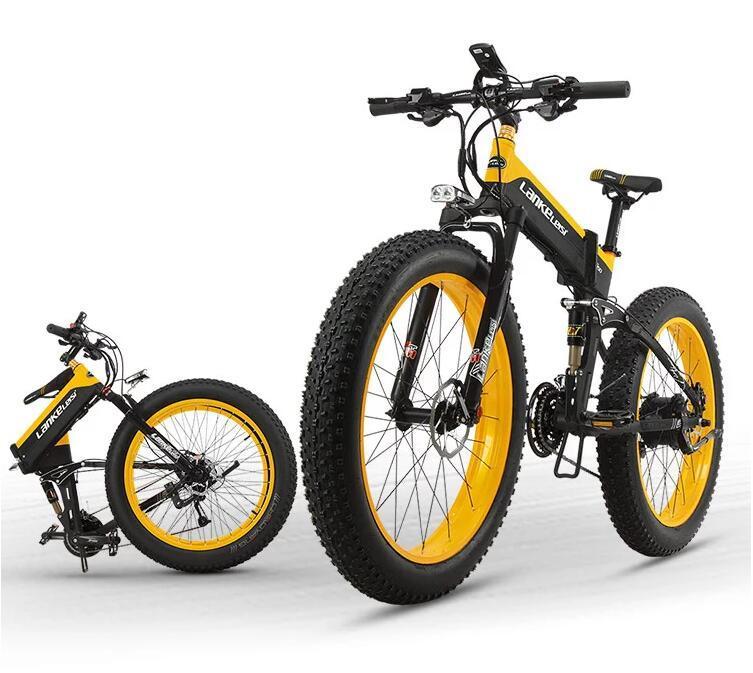 "EU Quality Level LANKELEISI 26x4.0"" 1000W Fat Tire Folding Electric Bicycle 48V 1000W 13AH Panasoni'c Lithium Battery 5"