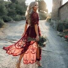 цена на Sexy Wine Red Deep V Neck Perspective Mesh Yarn Flowers Women Lace Dress Women Elegant Short Sleeve Maxi Long Dress
