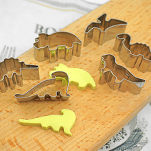 6pcs/Set Stainless Steel Biscuit Mould Dinosaur Cookie Cutters Fondant Cake Mold DIY Sugar Craft Jurassic 3D Pastry Cake Tools ttlife unicorn animal cookie cutter stainless steel fondant cake baking mold sugarcraft chocolate pastry diy tools biscuit mould