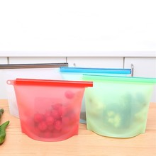 Reusable Silicone Food Storage Bag Fresh-keeping Bag Portable Moisture-proof Vacuum Container for Veggies Meat Snacks