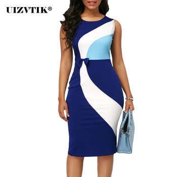 Summer Dress Women 2020 Casual Plus Size Slim Office Pencil Bodycon Dresses Vintage Sexy Geometric Patchwork Color Party Dress 2019 summer ol office work dress women double button bandage bodycon dress women lace patchwork white casual dress plus size